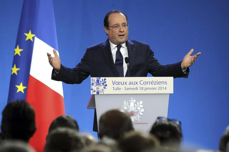 French President Francois Hollande delivers his New Year's greetings to the residents of the region of Correze, in Tulle, central France, January 18, 2014. REUTERS/Philippe Wojazer