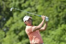 Pablo Larrazabal of Spain tees off on the fourth hole during the second round of the Nordea Masters golf tournament at the Bro Hof golf club north of Stockholm May 31, 2013, in this picture provided by Scanpix. REUTERS/Jonas Ekstromer/Scanpix