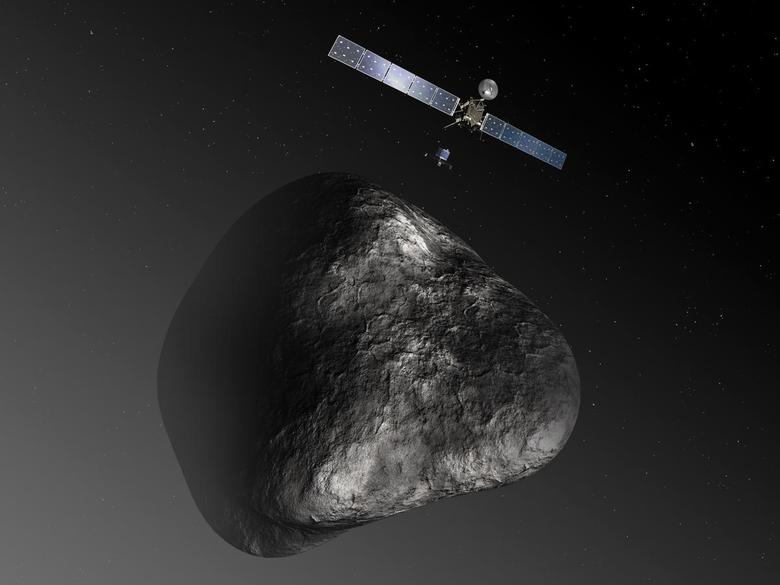 An artist's impression handout image by the European Space Agency shows the Rosetta orbiter deploying the Philae lander to comet 67P/Churyumov–Gerasimenko. REUTERS/European Space Agency-C. Carreau/ATG medialab/Handout via Reuters