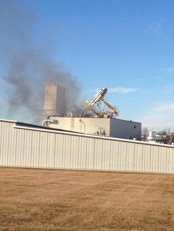 International Nutrition, an Omaha animal feed processing plant, is seen after an explosion in this picture taken by Ofc. Mike Bossman, courtesy of the Omaha Police Department, in Omaha, Nebraska, January 20, 2014. REUTERS/Omaha Police Department/Handout via Reuters