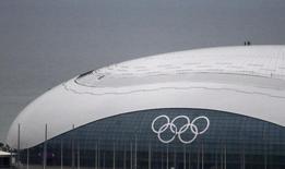 Operários em pé sobre o um dos ginásios construídos para a Olimpíada de Inverno, o Bolshoi Ice Dome, em Sochi. A China está confiante de que a Rússia será capaz de garantir a segurança dos Jogos Olímpicos de Inverno de Sochi no mês que vem, disseram autoridades nesta terça-feira. 20/01/2014. REUTERS/Alexander Demianchuk