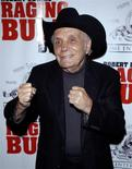 Jake LaMotta arrives for the 25th anniversary screening of the film Raging Bull in New York in this January 27, 2005 file photo. Reuters\Chip East