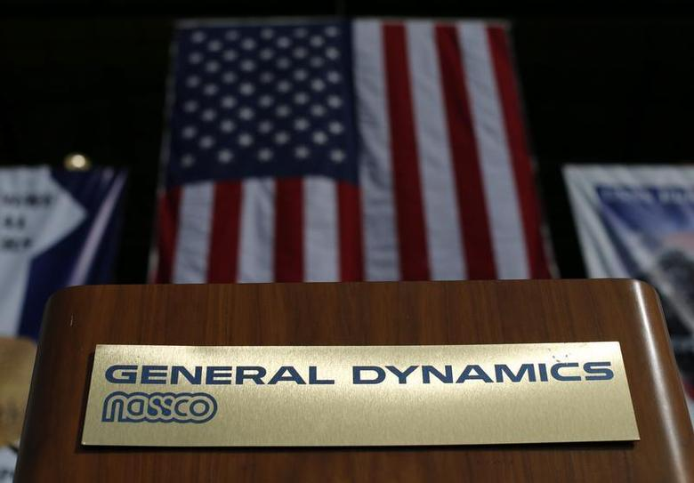A speakers' podium is seen at the General Dynamics NASSCO ship building complex in San Diego, California January 9, 2014. REUTERS/Mike Blake