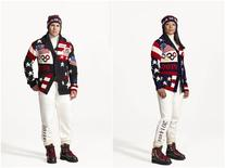 A combination photo shows Zach Parise (L) of the United States men's ice hockey team and Julie Chu, of the United States women's ice hockey team wearing the Official Opening Ceremony Parade Uniforms for the 2014 Winter Olympic Games in these photos released on January 23, 2014. REUTERS/Ralph Lauren/Handout