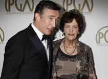 """Actor Steve Coogan from the film"""" Philomena"""", an Oscar Best Picture nominee, arrives with Philomena Lee, whose life was featured in the film, at the 25th Annual Producers Guild of America Awards in Beverly Hills, California January 19, 2014. REUTERS/Fred Prouser"""