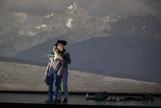 """American tenor Tom Randle (Jack Twist) (L), and Canadian bass-baritone Daniel Okulitch (Ennis del Mar), perform during a dress rehearsal of the opera """"Brokeback Mountain"""" at the Teatro Real in Madrid, January 24, 2014. REUTERS/Paul Hanna"""