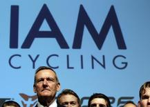 IAM cycling team founder and main sponsor Michel Thetaz looks on during the team presentation in Geneva January 14, 2013. REUTERS/Denis Balibouse