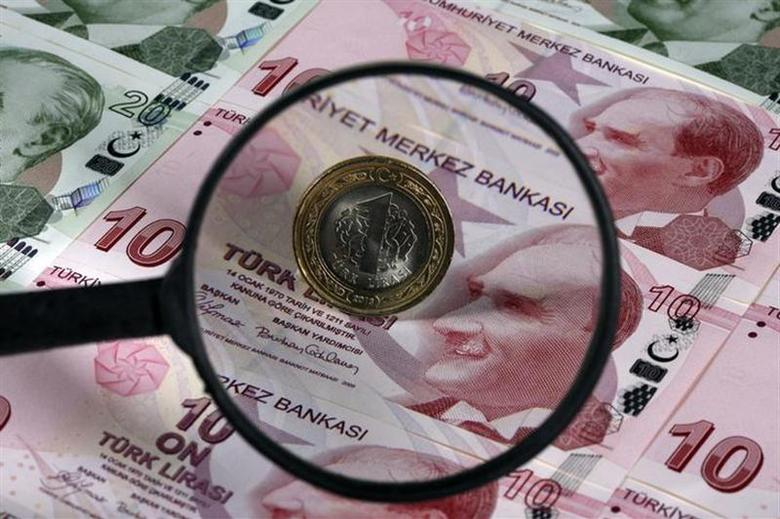 A Turkish one lira coin is seen through a magnifying lens on top of 10 lira banknotes in this illustration picture taken in Istanbul January 28, 2014. REUTERS/Murad Sezer