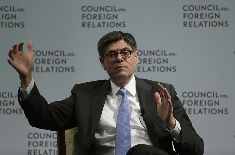 United States Secretary of the Treasury Jack Lew gestures during a discussion with John Bussey (not pictured), the executive business editor of the Wall Street Journal, at the Council of Foreign Relations in Washington January 16, 2014. REUTERS/Gary Cameron