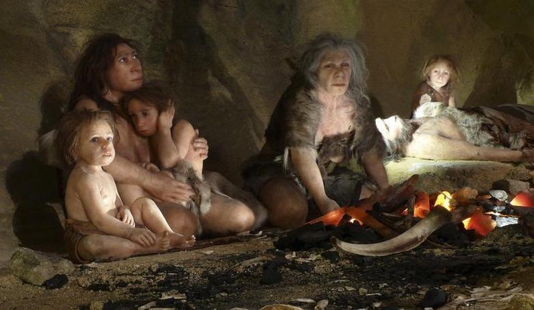 An exhibit shows the life of a neanderthal family in a cave in the new Neanderthal Museum in the northern town of Krapina February 25, 2010. REUTERS/Nikola Solic