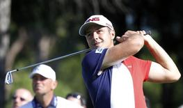 Julien Quesne of France tees off on the second hole during the third round of the inaugural Turkish Airlines Open in the southwest city of Antalya November 9, 2013. REUTERS/Umit Bektas