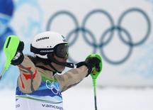 Mexico's Hubertus Von Hohenlohe reacts after competing during the first run of the men's alpine skiing slalom event at the Vancouver 2010 Winter Olympics in Whistler, British Columbia, February 27, 2010. REUTERS/Leonhard Foeger