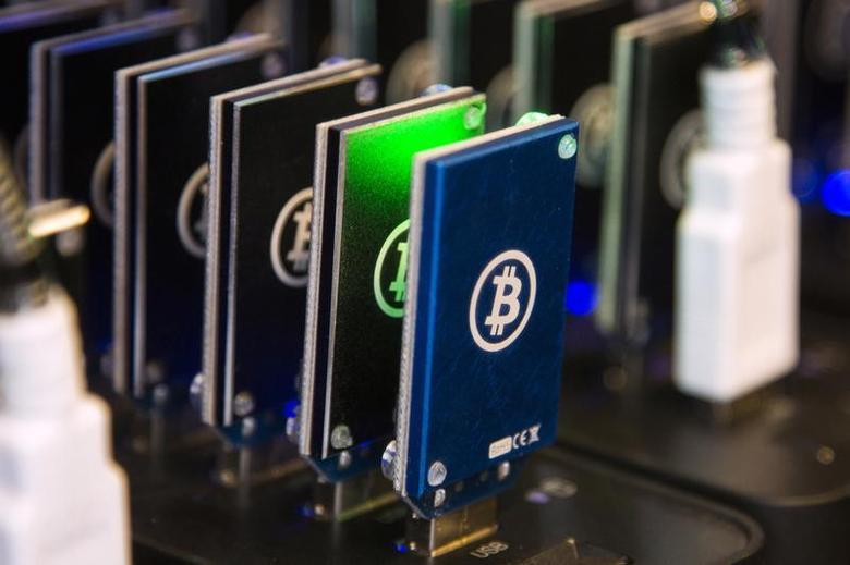 A chain of block erupters used for Bitcoin mining is pictured at the Plug and Play Tech Center in Sunnyvale, California October 28, 2013. REUTERS/Stephen Lam/Files