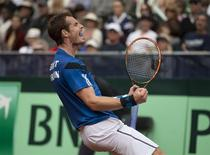 Feb 2, 2014; San Diego, CA, USA; Andy Murray (GBR) celebrates recording match point in his match against Sam Querrey (USA) in the USA vs GBR Davis Cup tie at Petco Park. Mandatory Credit: Susan Mullane-USA TODAY Sports