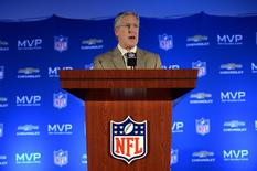 Feb 3, 2014; New York, NY, USA; Seattle Seahawks head coach Pete Carroll during the winning team press conference the day after Super Bowl XLVIII at Sheraton New York Times Square. Mandatory Credit: Joe Camporeale-USA TODAY Sports
