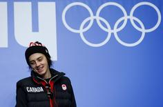 Canadian snowboarder Mark McMorris attends a news conference in Rosa Khutor, Russia February 2, 2014. REUTERS/Mike Blake