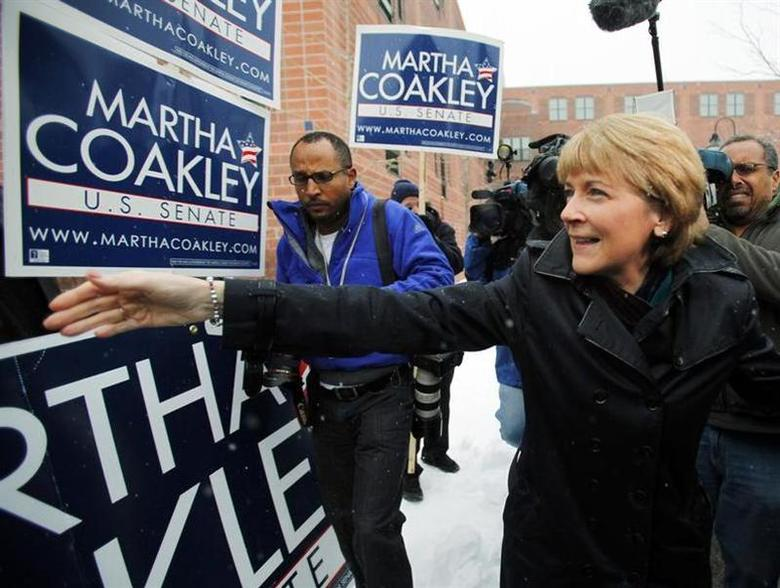 Democratic candidate for the U.S. Senate Martha Coakley (R) greets supporters outside the polling station where she cast her ballot in the special election to fill the Senate seat of the late Edward Kennedy in Medford, Massachusetts January 19, 2010. REUTERS/Brian Snyder