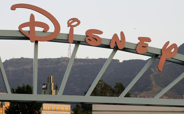 A part of the signage at the main gate of The Walt Disney Co. is pictured in Burbank in this California, May 7, 2012 file photo. REUTERS/Fred Prouser/Files