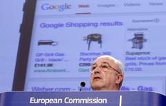 European Union Competition Commissioner Joaquin Almunia speaks during a news conference at the EU Commission headquarters in Brussels February 5, 2014. Google has offered further concessions to address regulatory concerns about its search technology, the European Commission said on Wednesday, effectively settling a three-year investigation and avoiding a fine of up to $5 billion. REUTERS/Francois Lenoir