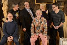 """Cast members (L-R) Bob Balaban, George Clooney, John Goodman, Bill Murray, Cate Blanchett, Matt Damon and Grant Heslov are pictured during a photo call for the film """"The Monuments Men"""" held in Beverly Hills January 16, 2014. REUTERS/Phil McCarten"""