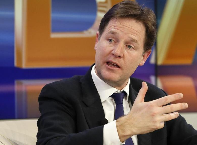 Britain's Deputy Prime Minister Nick Clegg gestures during a session at the annual meeting of the World Economic Forum (WEF) in Davos January 23, 2014. REUTERS/Ruben Sprich