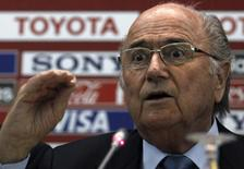 FIFA President Sepp Blatter speaks during a news conference at FIFA Club World Cup soccer tournament in Marrakech December 19, 2013. REUTERS/Amr Abdallah Dalsh