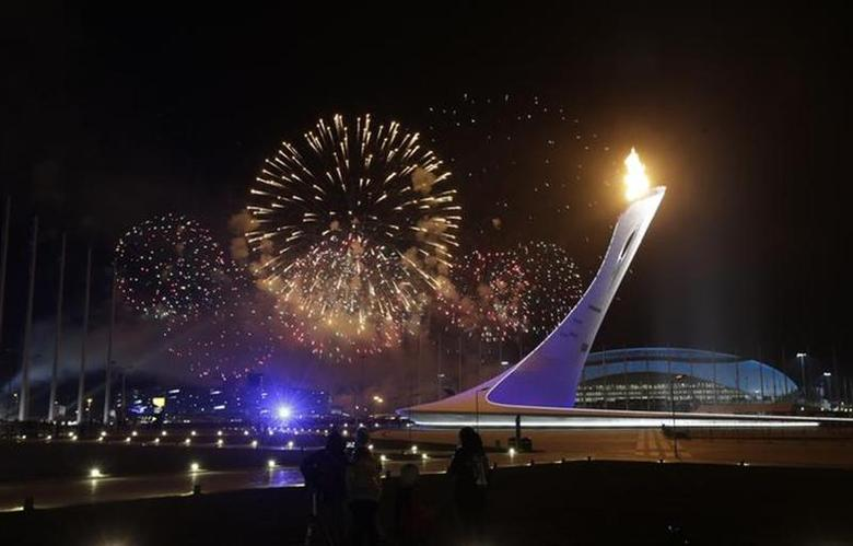 The Olympic Cauldron is seen in the Olympic Park at the end of the opening ceremony of the 2014 Sochi Winter Olympics, February 7, 2014. REUTERS/Ints Kalnins