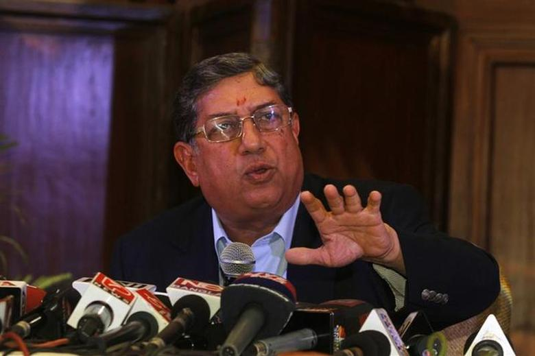 BCCI president N. Srinivasan speaks to the media during a news conference in Kolkata May 26, 2013. REUTERS/Rupak De Chowdhuri/Files