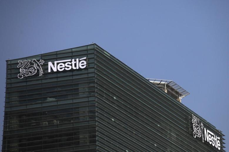 The logo of Nestle is seen on the company building in Mexico City, January 24, 2014. REUTERS/Edgard Garrido