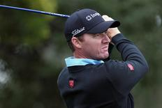 Feb 8, 2014; Pebble Beach, CA, USA; Jimmy Walker tees off on the 5th hole at Monterey Peninsula Country Club, shore course during the third round of the AT&T National Pro-Am at Pebble Beach Calif. Mandatory Credit: Lance Iversen-USA TODAY Sports