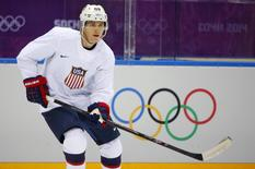 Team USA's Patrick Kane participates in the men's ice hockey team's first practice at the 2014 Sochi Winter Olympics, February 10, 2014. REUTERS/Brian Snyder