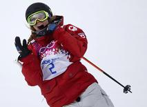 Canada's Dara Howell reacts in the finish area during the women's freestyle skiing slopestyle finals at the 2014 Sochi Winter Olympic Games in Rosa Khutor February 10, 2014. REUTERS/Mike Blake