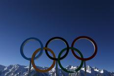 "The Olympic rings are seen during a training session for the 2014 Sochi Winter Olympic Games at the ""Laura"" cross-country and biathlon centre in Rosa Khutor February 3, 2014. REUTERS/Stefan Wermuth"