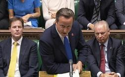 Britain's Prime Minister David Cameron speaks during Prime Minister's Questions in Parliament in this still image taken from video in London September 5, 2012. REUTERS/UK Parlaliament/Pool