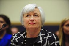 """Federal Reserve Chair Janet Yellen testifies before a House Financial Services Committee hearing on """"Monetary Policy and the State of the Economy."""" at the Rayburn House Office Building in Washington, February 11, 2014. REUTERS/Mary F. Calvert"""