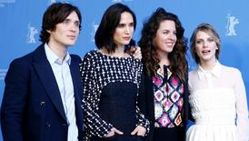"""Director Claudia Llosa (2nd R) poses with cast members Cillian Murphy (L-R), Jennifer Connelly and Melanie Laurent during a photocall to promote the movie """"Aloft"""" at the 64th Berlinale International Film Festival in Berlin February 12, 2014. REUTERS/Tobias Schwarz"""