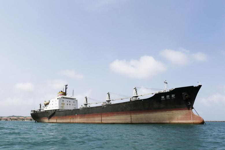 The North Korean-flagged cargo ship Chong Chon Gang is pictured in Fort Sherman Bay, a former U.S. base, on the outskirts of Colon city February 12, 2014 file photo. REUTERS/Carlos Jasso