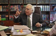 India's Telecommunications Minister Kapil Sibal gestures after an interview with Reuters at his office in New Delhi October 15, 2013. REUTERS/Anindito Mukherjee