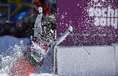 Gus Kenworthy of the U.S. reacts during the men's freestyle skiing slopestyle finals at the 2014 Sochi Winter Olympic Games in Rosa Khutor February 13, 2014. REUTERS/Dylan Martinez
