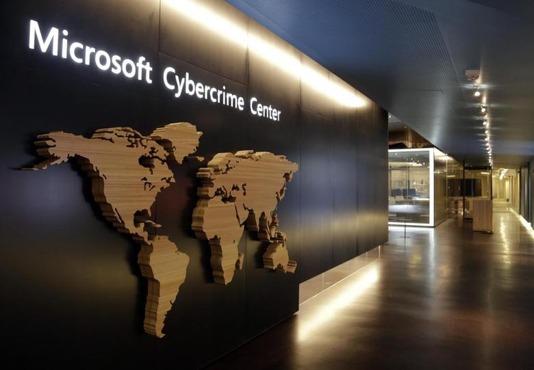 A sign is pictured in the hallway of the Microsoft Cybercrime Center, the new headquarters of the Microsoft Digital Crimes Unit, in Redmond, Washington November 11, 2013. REUTERS/Jason Redmond