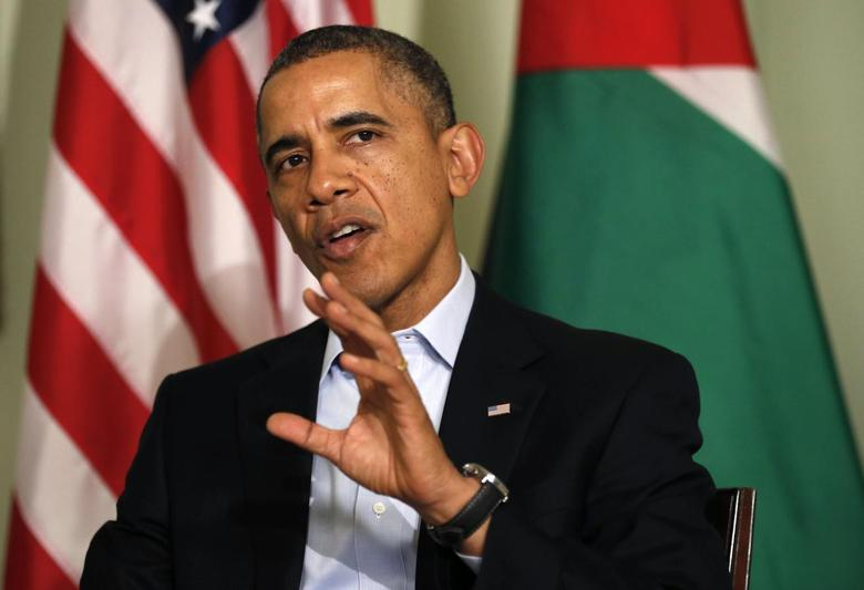 U.S. President Barack Obama speaks during his meeting with Jordan's King Abdullah at Sunnylands in Rancho Mirage, California February 14, 2014. REUTERS/Kevin Lamarque
