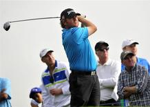 February 15, 2014; Pacific Palisades, CA, USA; William McGirt hits from the third hole tee during the third round of the Northern Trust Open at Riviera Country Club. Gary A. Vasquez-USA TODAY Sports