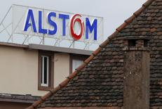 The logo of French power and transport engineering company Alstom is pictured on the roof of the company's plant in Reichshoffen near Haguenau, North Eastern France, January 21, 2014. REUTERS/Vincent Kessler