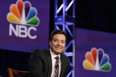 "Jimmy Fallon, host of ""The Tonight Show Starring Jimmy Fallon"", takes part in a panel discussion at the NBC portion of the 2014 Winter Press Tour for the Television Critics Association in Pasadena, California, January 19, 2014. REUTERS/Gus Ruelas"