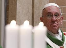 Pope Francis celebrates a mass during his pastoral visit to the Saint Tommaso parish on the outskirts of Rome February 16, 2014. REUTERS/Remo Casilli