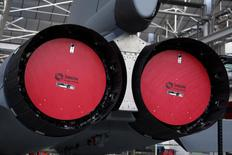 View of a M88 engines, produced by Snecma and which powers a Rafale jet fighter, are seen at the assembly line in the factory of French aircraft manufacturer Dassault Aviation in Merignac near Bordeaux, southwestern France, January 10, 2014. REUTERS/Benoit Tessier