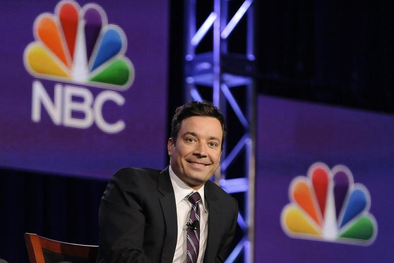 Jimmy Fallon, host of ''The Tonight Show Starring Jimmy Fallon'', takes part in a panel discussion at the NBC portion of the 2014 Winter Press Tour for the Television Critics Association in Pasadena, California, January 19, 2014. REUTERS/Gus Ruelas