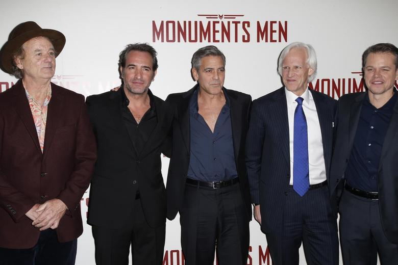 Cast members Bill Murray (L-R), Jean Dujardin, George Clooney, writer Robert Morse Edsel and actor Matt Damon arrive for the French premiere of the film ''The Monuments Men'' in Paris February 12, 2014. REUTERS/Benoit Tessier