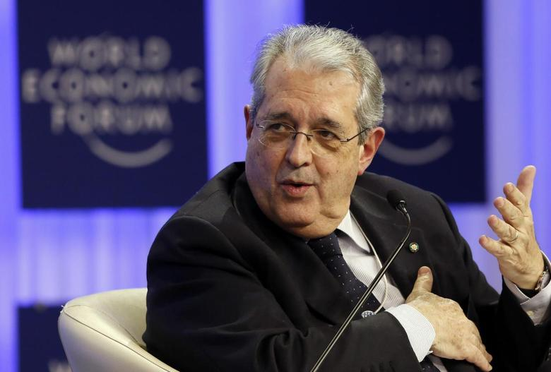 Italy's Minister of Economy and Finance Fabrizio Saccomanni gestures during a session at the annual meeting of the World Economic Forum (WEF) in Davos January 23, 2014. REUTERS/Ruben Sprich