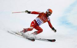 India's Himanshu Thakur skis during the second run of the men's alpine skiing giant slalom event at the 2014 Sochi Winter Olympics at the Rosa Khutor Alpine Center February 19, 2014. REUTERS/Ruben Sprich